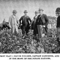 Mayor Pingree (fourth from left) and members of the Agricultural Committee visit one of the Potato Patches as a gardener looks on (right). The Arena Magazine, 1896.