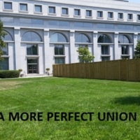 "This design for a semi-postal stamp sums up the teachers' vision for an art project on the Marshall Federal Judiciary Building lawn: ""A More Perfect Union."""