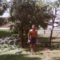Dad in the backyard in Englewood, Ohio