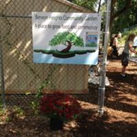 The entrance to the Berwyn Heights Community Garden in Berwyn Heights, Maryland.
