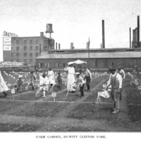 Children at DeWitt Clinton Park with factory in background, circa 1906. Annual Report, New York City Department of Parks, 1906.