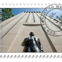 A semi-postal stamp raises funds for charitable causes and brings greater awareness to social issues. Here, this group of teachers created a design for semi-postal prominently featuring the Wheeler Williams sculpture of Senator Robert A. Taft.