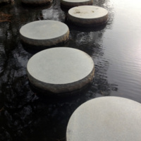 Stepping stones in the lush Japanese Garden at Maymont, directly adjacent to the James River, 2013.